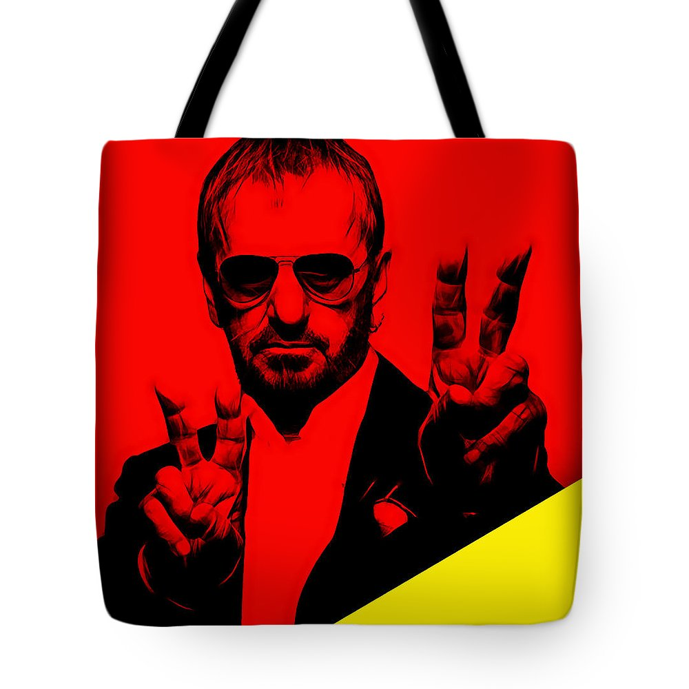 Ringo Starr Tote Bag featuring the mixed media Ringo Starr Collection by Marvin Blaine