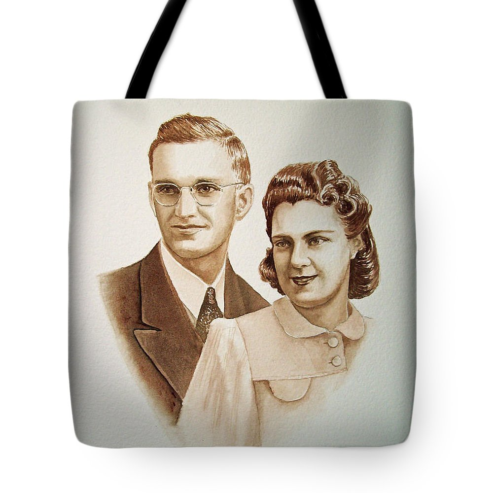 Anniversary Tote Bag featuring the painting 70 Years Together by Irina Sztukowski