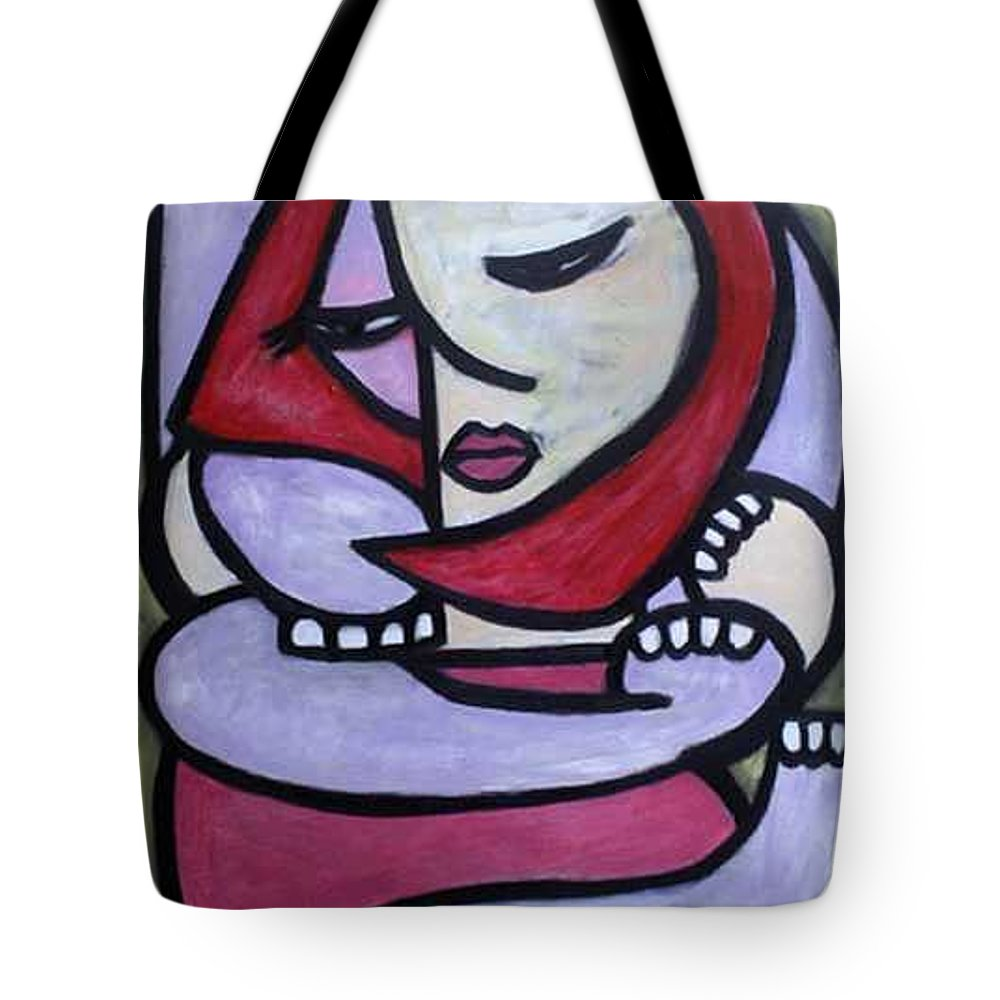Abstact Tote Bag featuring the painting Hugs by Thomas Valentine