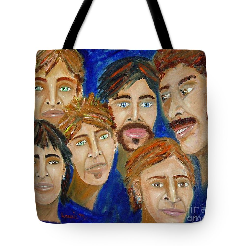 Portrait Tote Bag featuring the painting 70s Band Reunion by Laurie Morgan