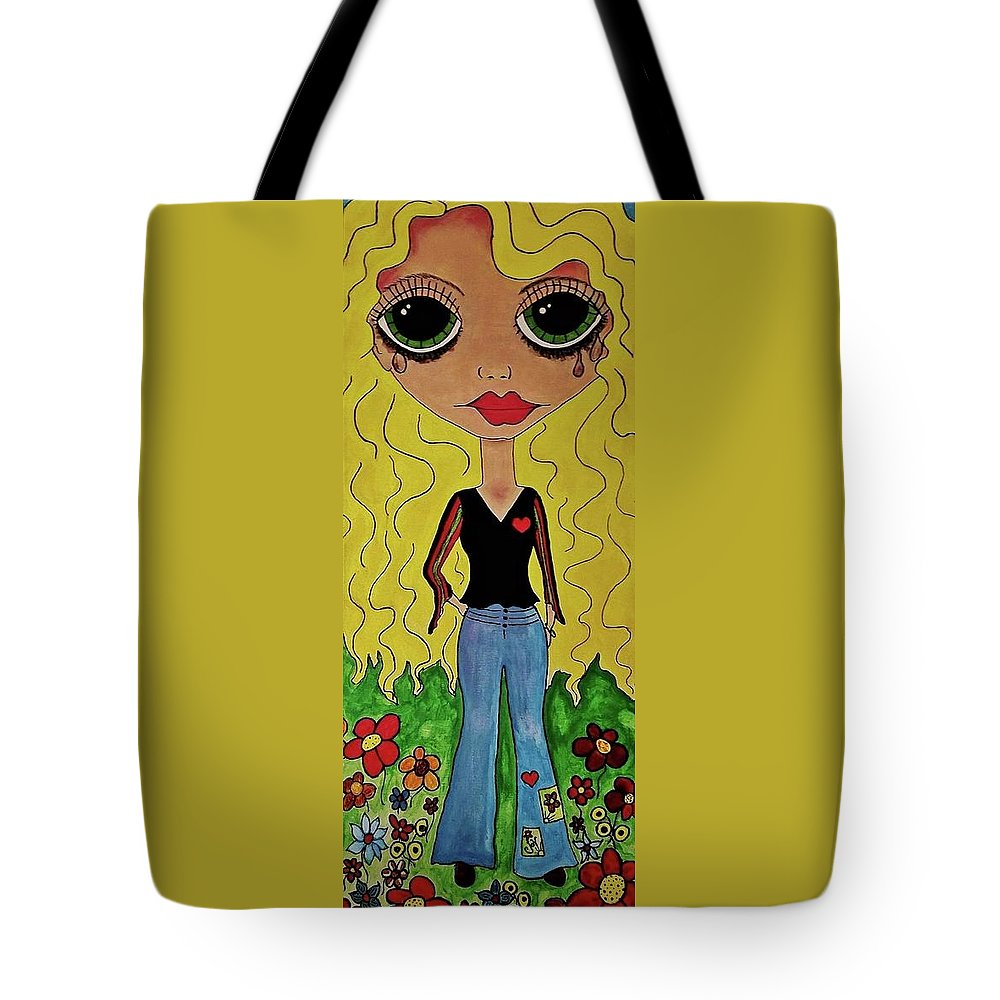 Tote Bag featuring the painting 70's Girl by Janice Heinzelman