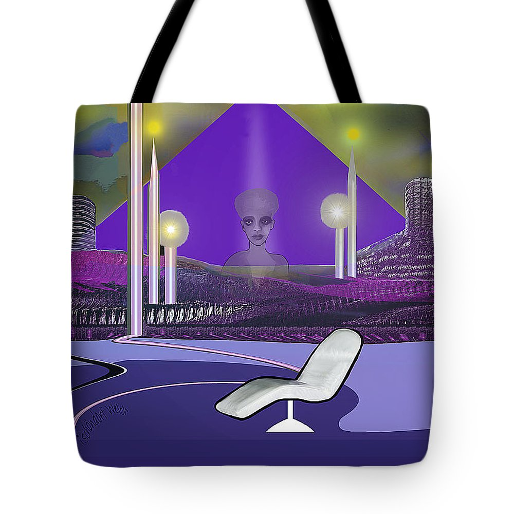 Domicile Of Memories Tote Bag featuring the painting 728 Sometimes At Night She Still Appears          by Irmgard Schoendorf Welch