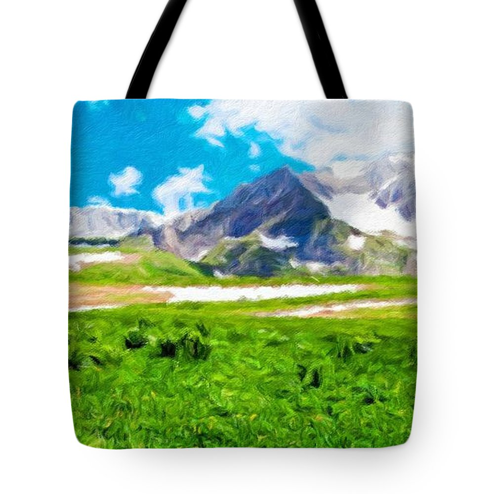 Landscape Tote Bag featuring the painting Nature Landscape Oil by World Map