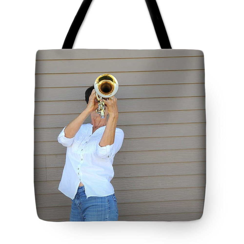 Mature Tote Bag featuring the photograph Jazz Musician. by Oscar Williams