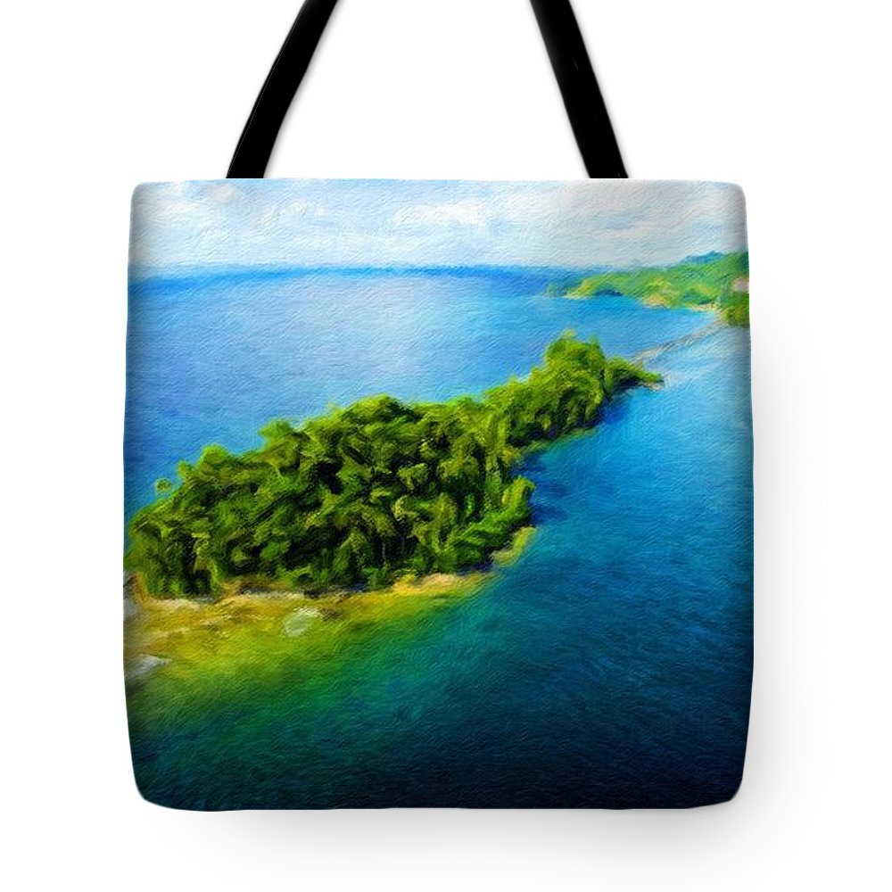 Landscape Tote Bag featuring the painting Landscape Drawing Nature by World Map