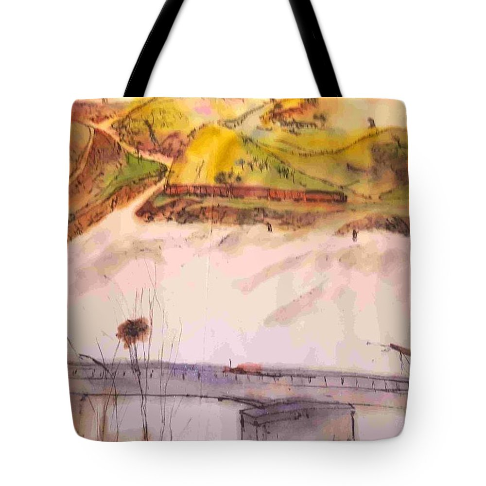 Idaho. Lewiston. Landscape. Cityscape. Architecture Tote Bag featuring the painting A Trip To Lewiston In Autumn Album by Debbi Saccomanno Chan