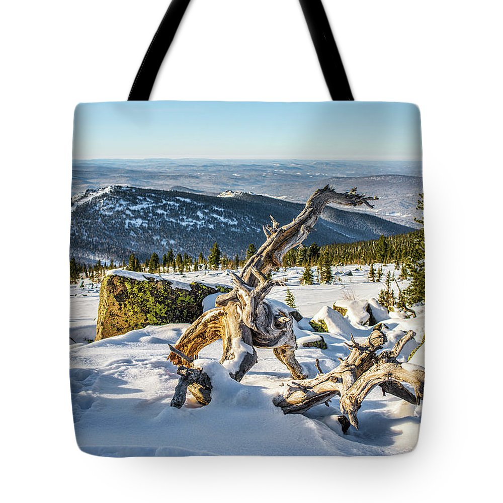 Air Tote Bag featuring the photograph Amazing Winter Landscape With Frozen Snow-covered Trees On Mountains In Sunny Morning by Oleg Yermolov