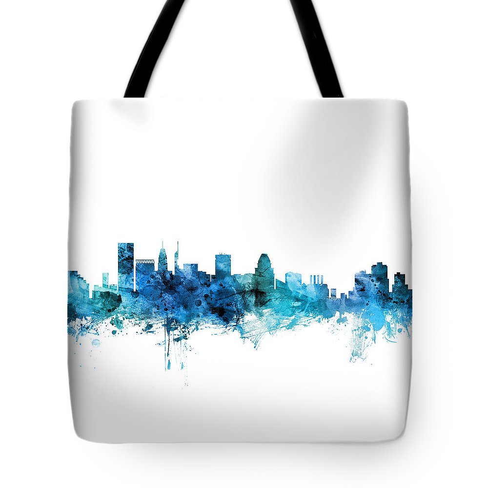 Baltimore Tote Bag featuring the digital art Baltimore Maryland Skyline by Michael Tompsett