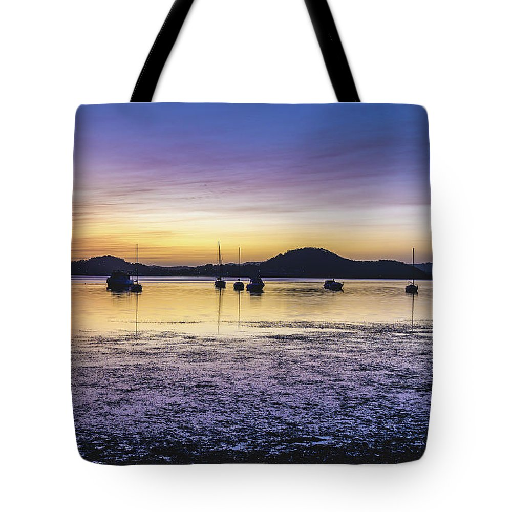 Australia Tote Bag featuring the photograph Dawn Waterscape Over The Bay With Boats by Merrillie Redden