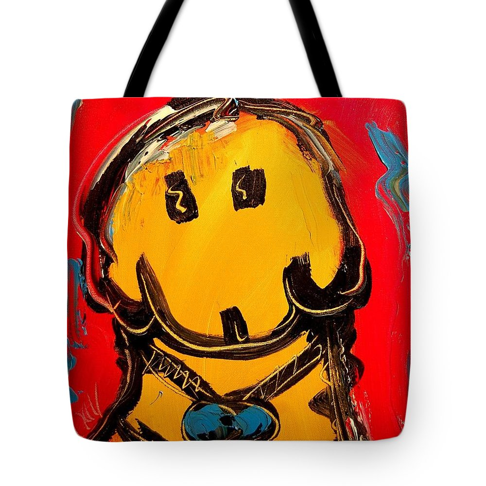 Impressionist Framed Prints Tote Bag featuring the mixed media dog by Mark Kazav