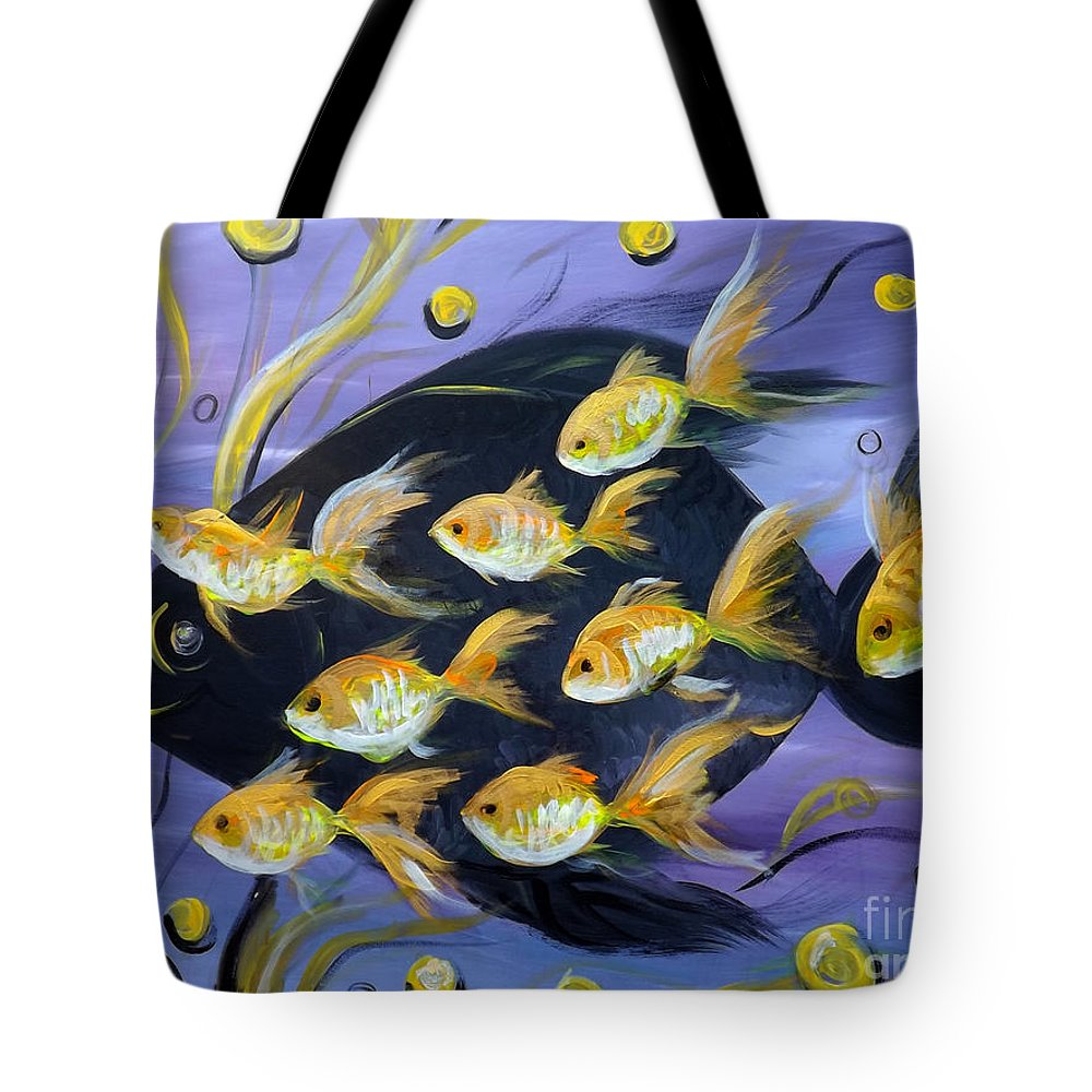 Fish Tote Bag featuring the painting 8 Gold Fish by Gina De Gorna