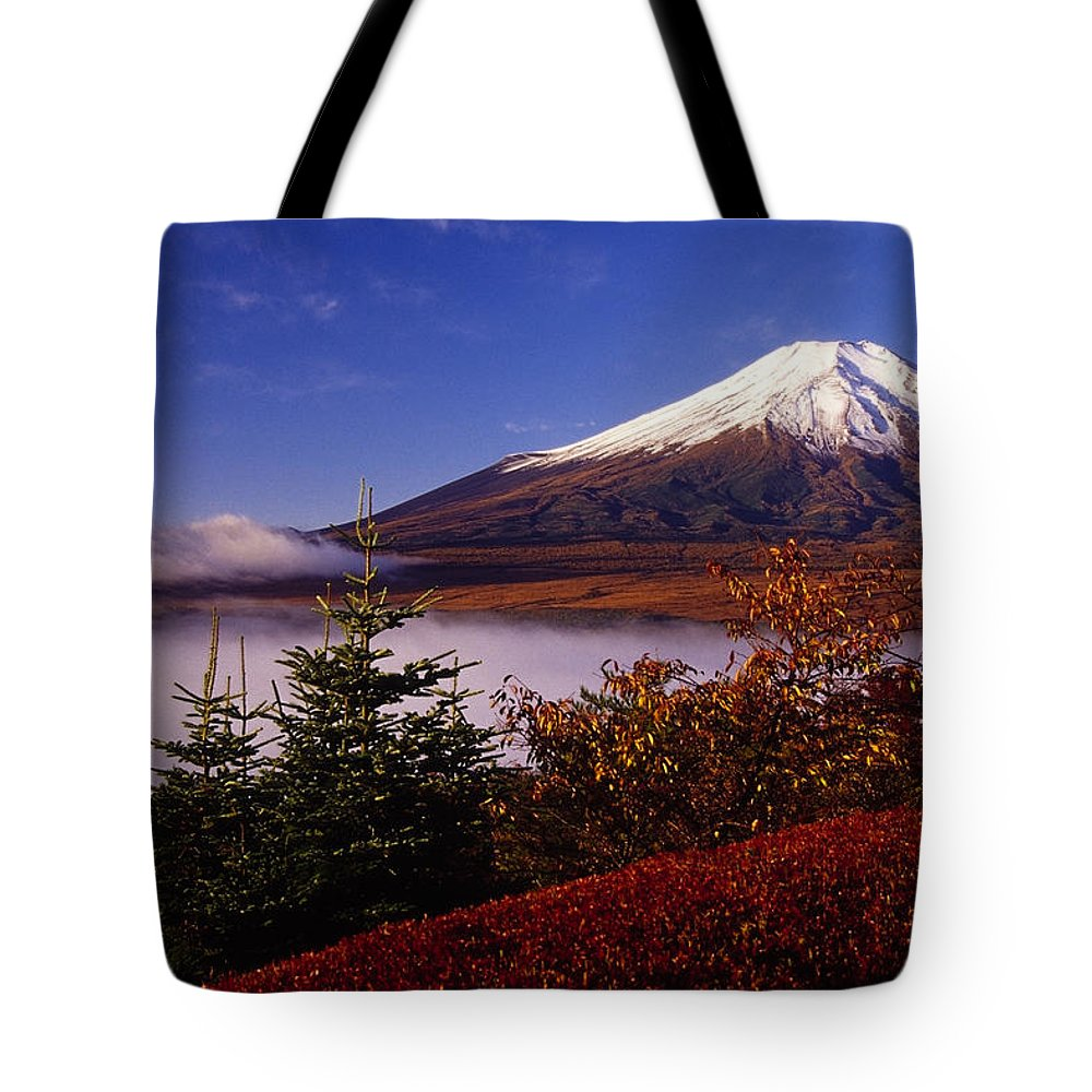 Japan Tote Bag featuring the photograph Mount Fuji In Autumn by Michele Burgess