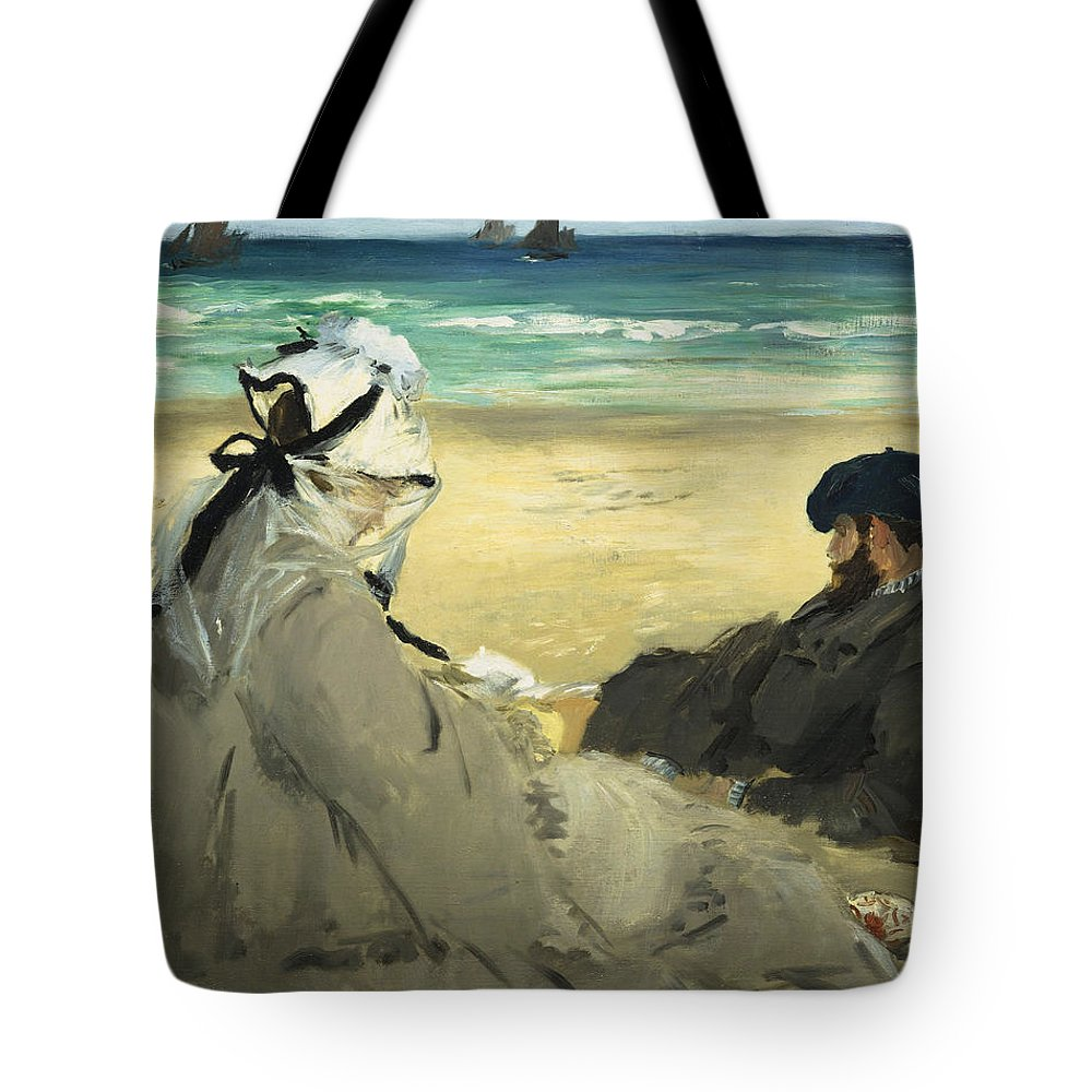 Beach Tote Bag featuring the painting On The Beach by Edouard Manet