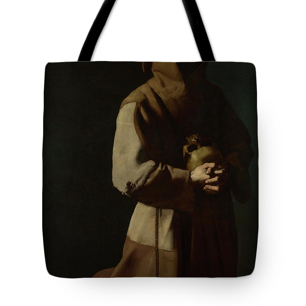 Skull Tote Bag featuring the painting Saint Francis In Meditation by Francisco de Zurbaran