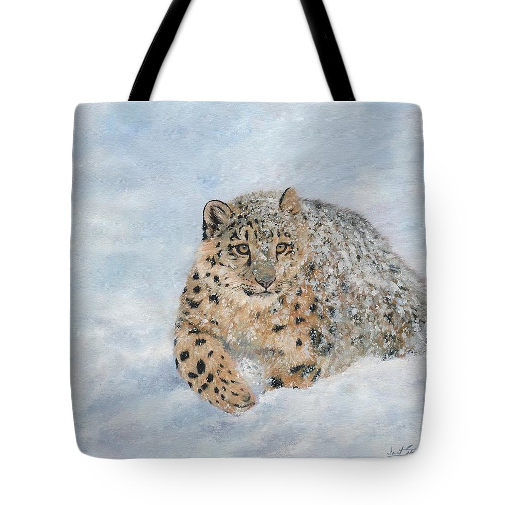 f2dc7439c3b1 Snow Tote Bag featuring the painting Snow Leopard by David Stribbling