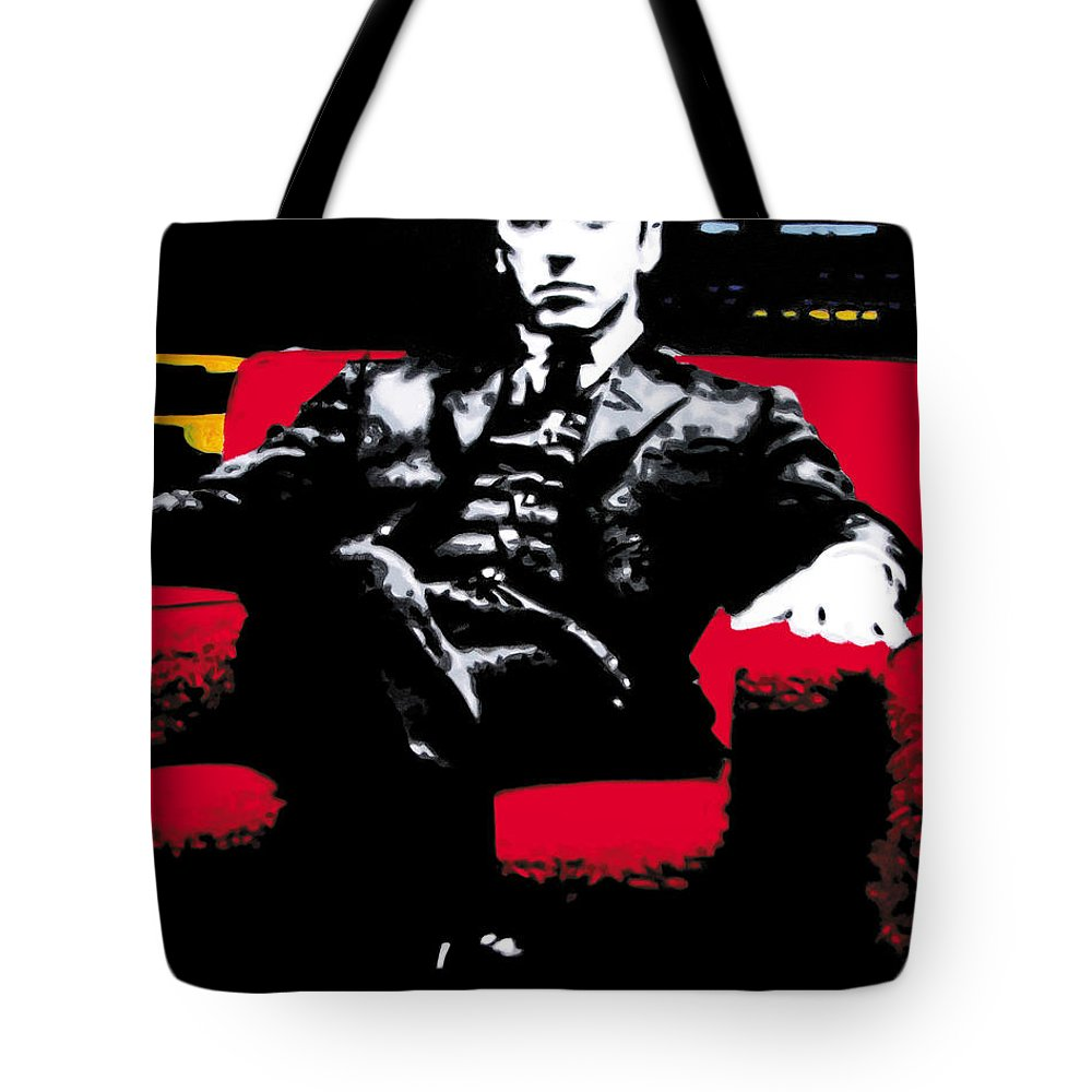 Al Pacino Tote Bag featuring the painting The Godfather by Luis Ludzska