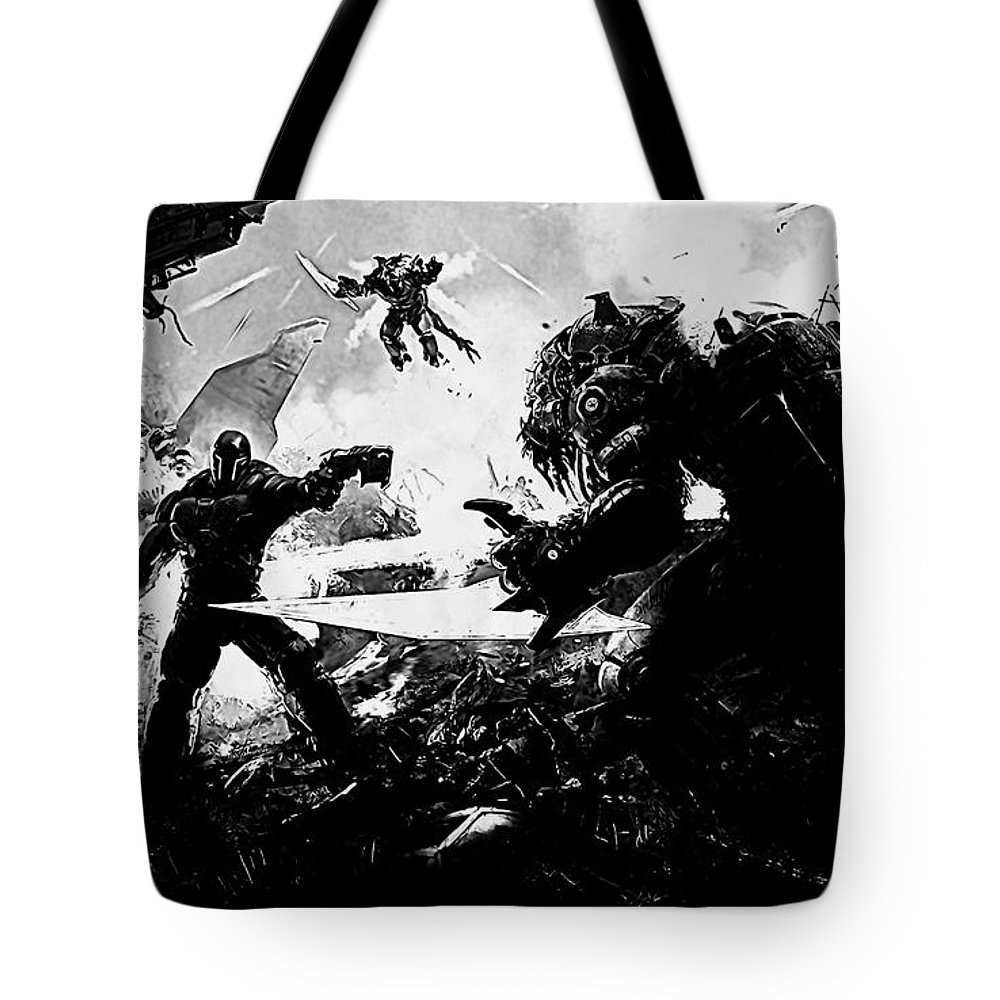 Warrior Tote Bag featuring the digital art Warrior by Lora Battle