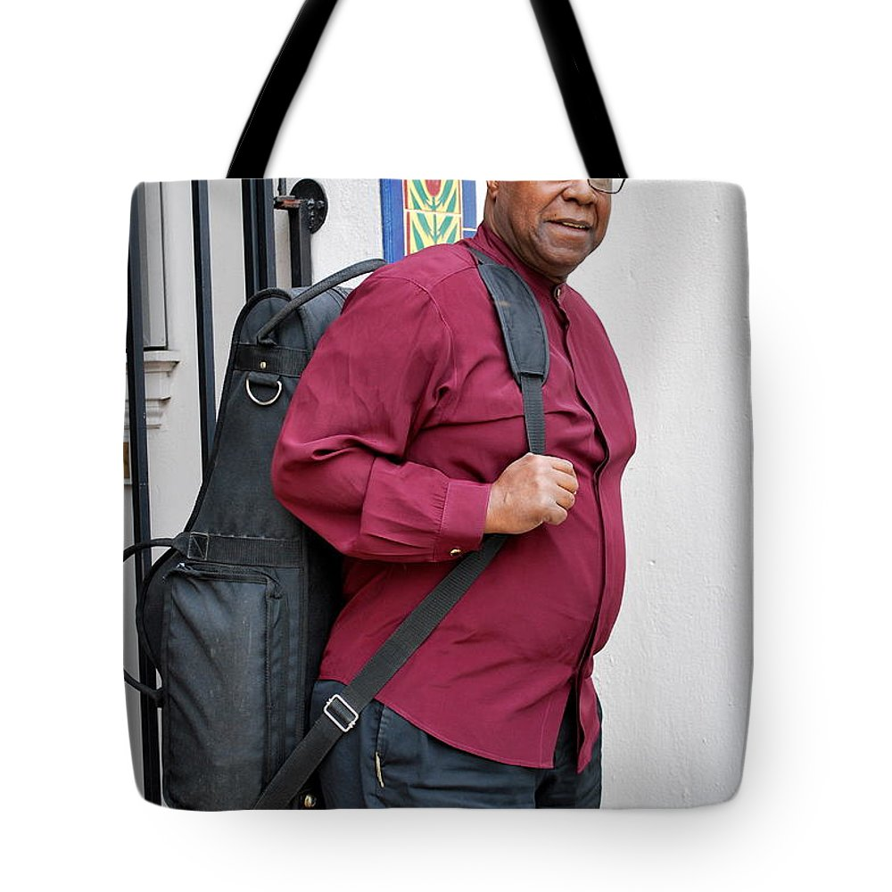 Jazz Tote Bag featuring the photograph Jazz Musician. by Oscar Williams