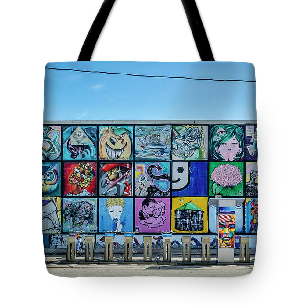 Florida Tote Bag featuring the photograph 8381-1- Little Havana Mural by David Lange