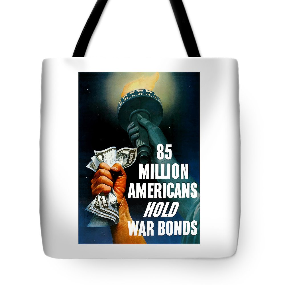 Statue Of Liberty Tote Bag featuring the painting 85 Million Americans Hold War Bonds by War Is Hell Store