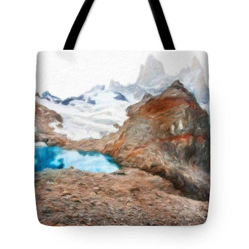 Landscape Tote Bag featuring the painting Nature Oil Painting Landscape by World Map