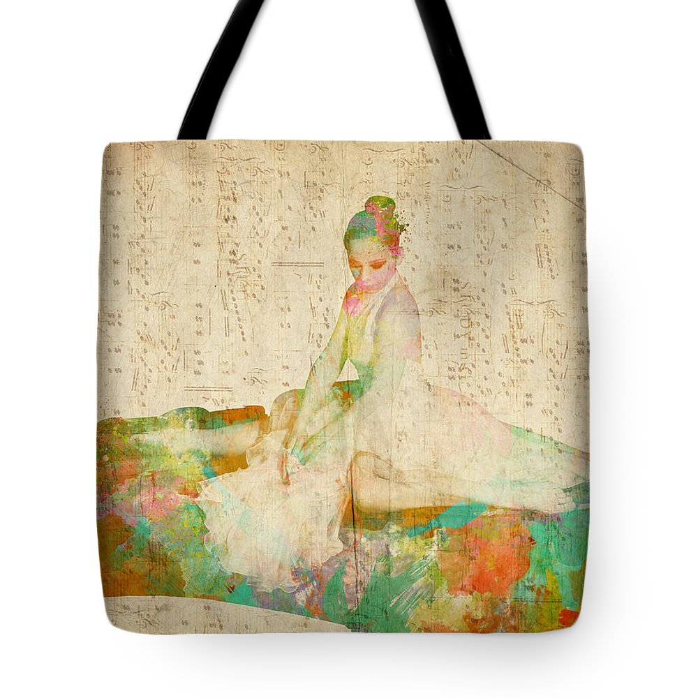 Piano Tote Bag featuring the digital art 88 Keys To Her Heart by Nikki Smith