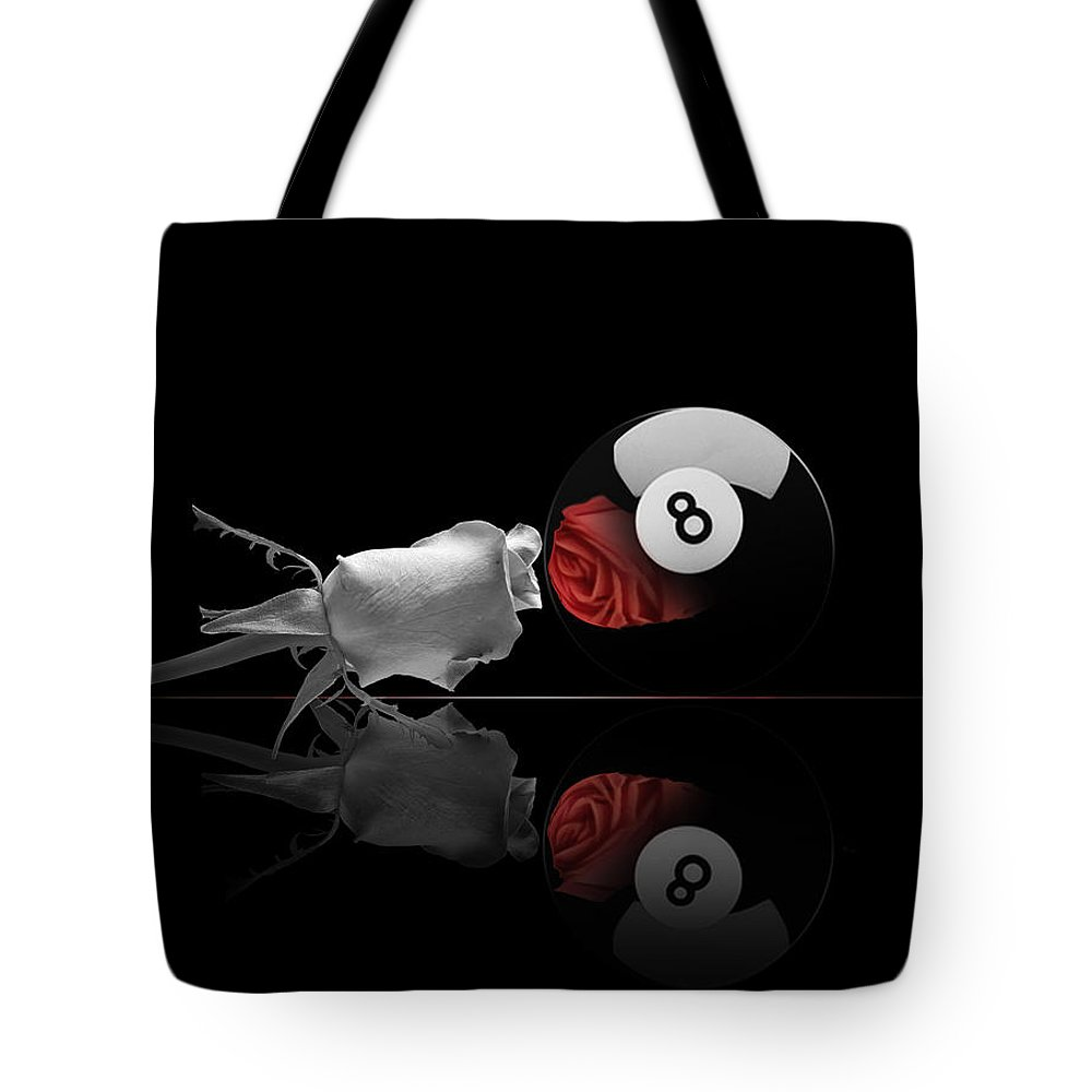 Pool Tote Bag featuring the digital art 8BW by Draw Shots