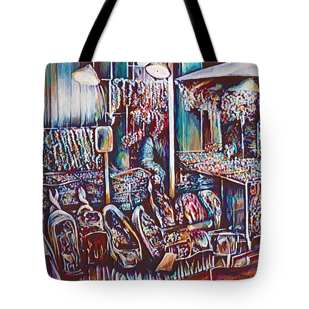 Gaye Elise Beda Tote Bag featuring the painting 8th Street Rings by Gaye Elise Beda