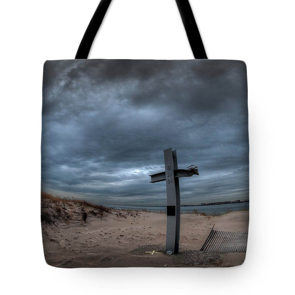 911 Tote Bag featuring the photograph 9/11 Memorial In Breezy Point New York by Mike Deutsch