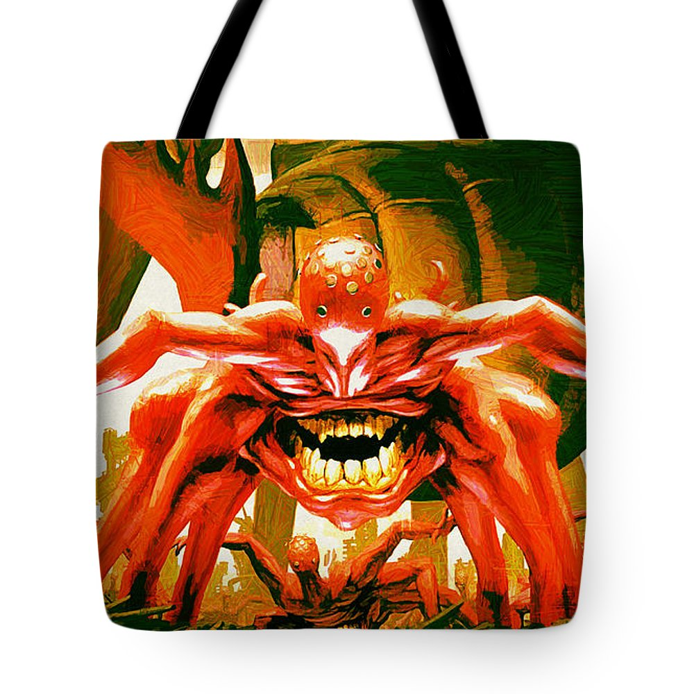Creature Tote Bag featuring the digital art Creature by Lora Battle