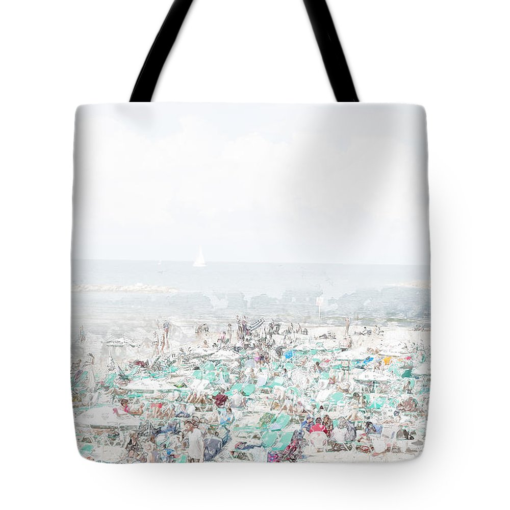Tel Aviv Tote Bag featuring the photograph Gordon Beach, Tel Aviv, Israel by Humorous Quotes