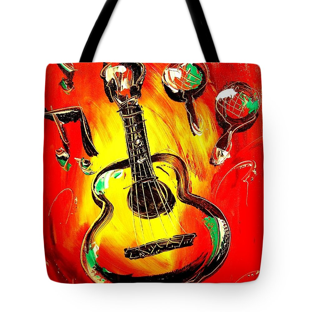 Impressionist Framed Prints Tote Bag featuring the mixed media Guitar by Mark Kazav