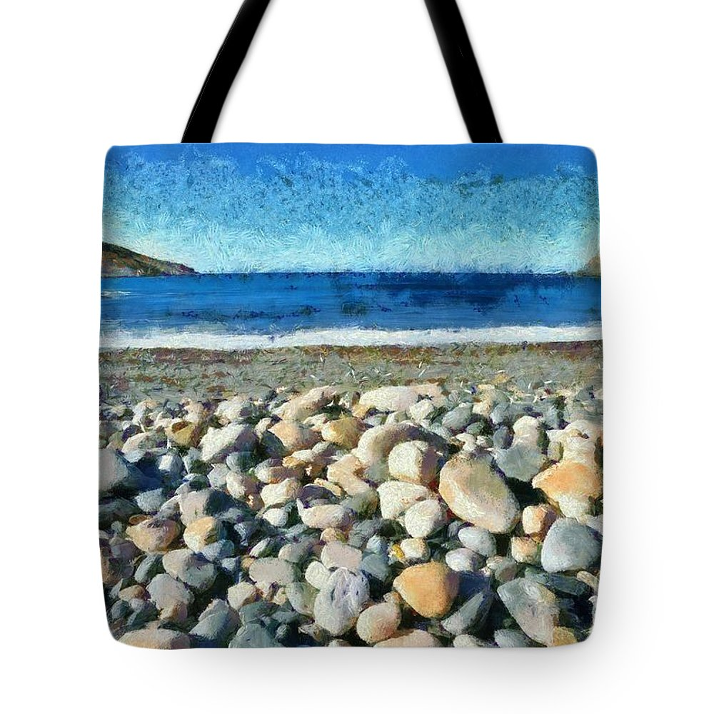 Tinos Tote Bag featuring the painting Livada Beach by George Atsametakis