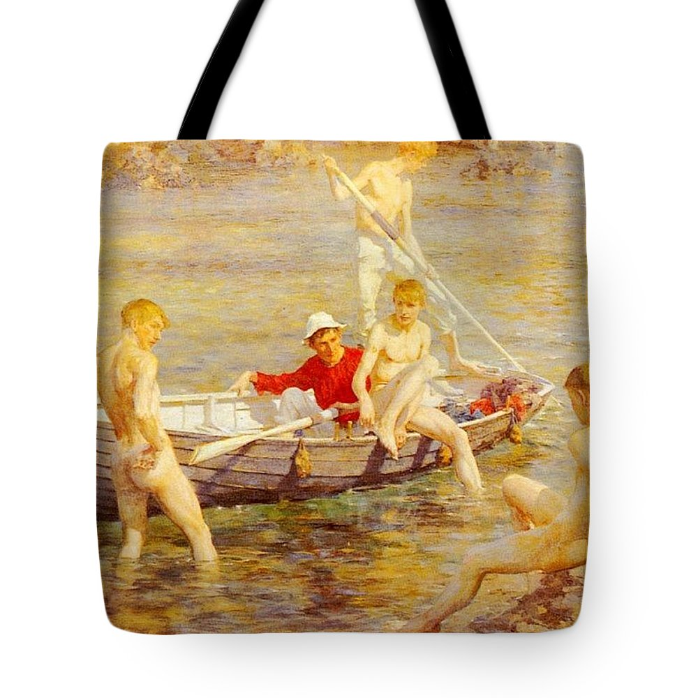 Canal Tote Bag featuring the digital art Tuke Henry Scott Ruby Gold And Malachite Henry Scott Tuke by Eloisa Mannion