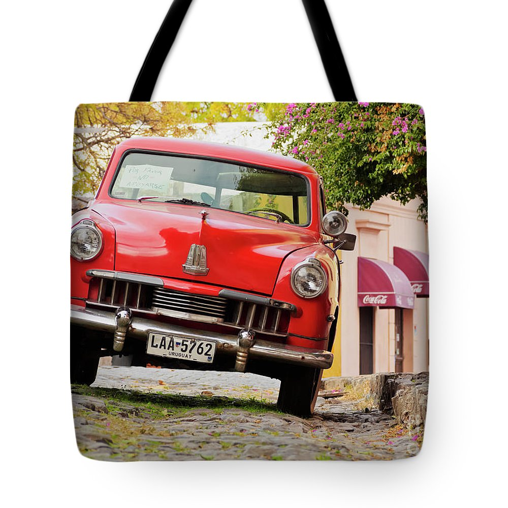 South America Tote Bag featuring the photograph Vintage Car In Colonia Del Sacramento, Uruguay by Karol Kozlowski