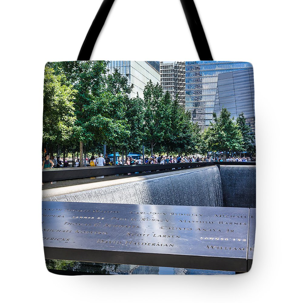Twin Towers Tote Bag featuring the photograph 911 Memorial - Remembering by John Waclo