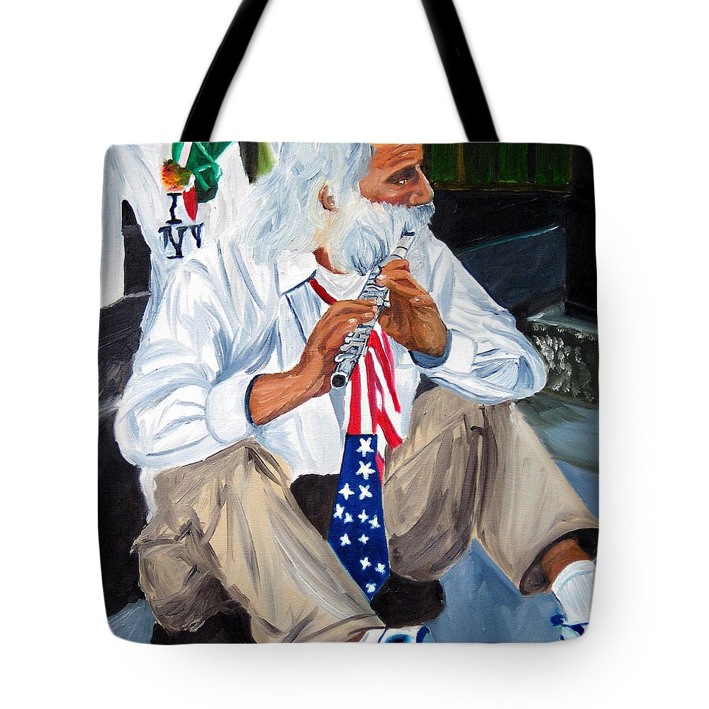 Street Musician Tote Bag featuring the painting 911 Tribute by Michael Lee