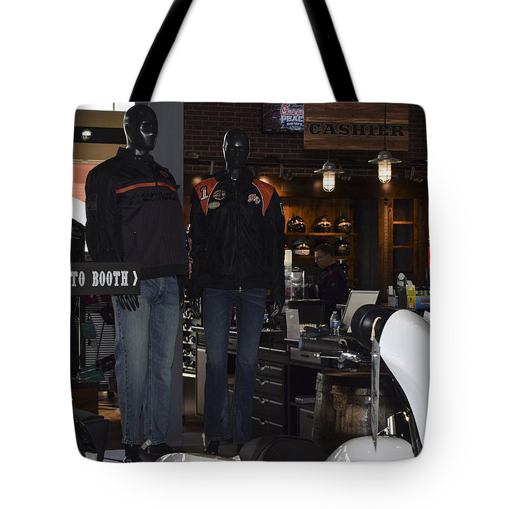 Harley-davidson Motor Cycles Tote Bag featuring the photograph Screw It, Just Ride by Marit Runyon