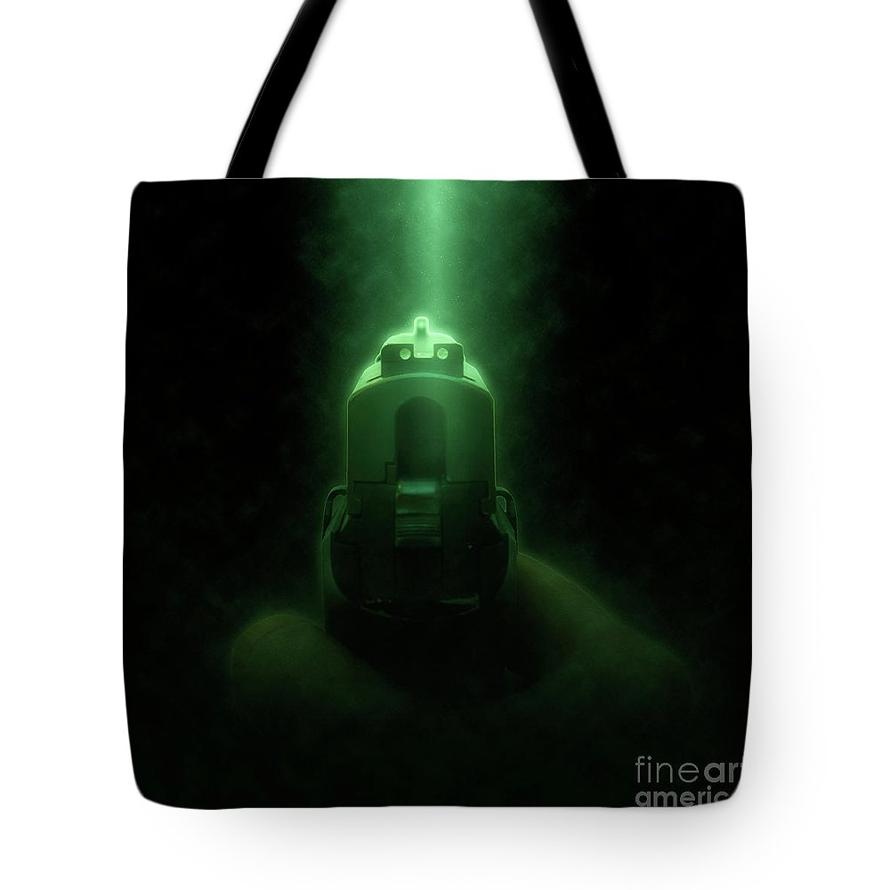 Man Tote Bag featuring the photograph 9mm Hand Gun 1 by Humorous Quotes