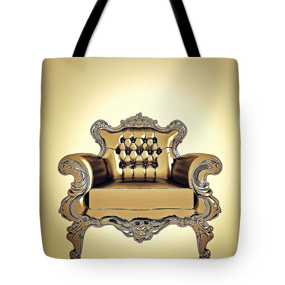 Room Tote Bag featuring the digital art A A G - Antiquearmchairgold by Nenad Cerovic