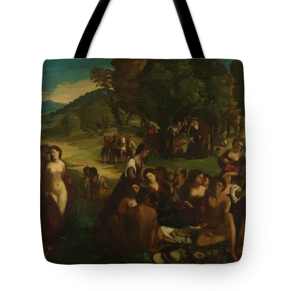 A Tote Bag featuring the painting A Bacchanal 1515 by Dossi Dosso