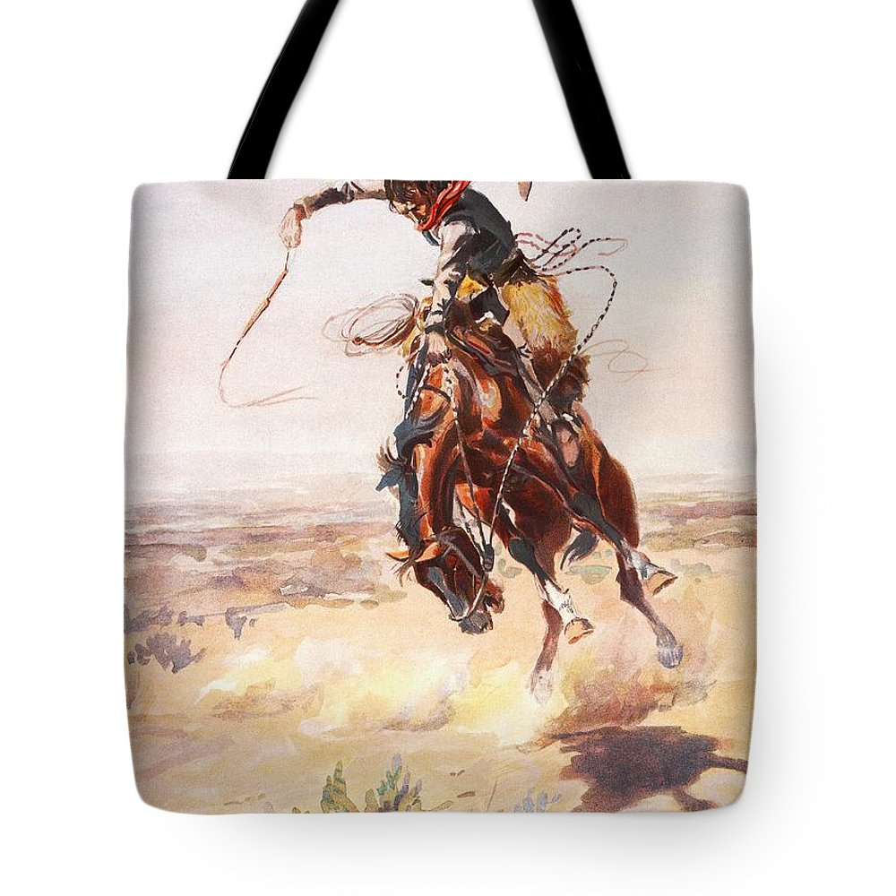 Charles Russell Tote Bag featuring the digital art A Bad Hoss by Charles Russell