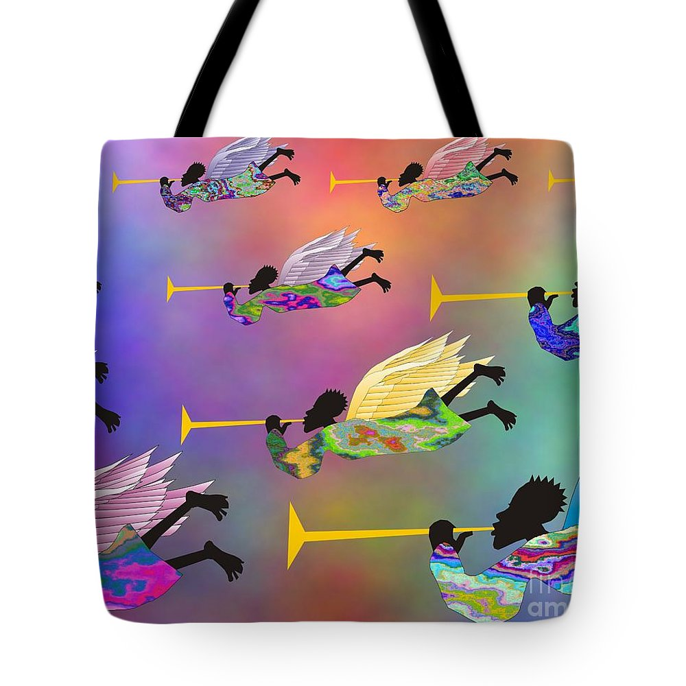 Angels Tote Bag featuring the digital art A Band Of Angels by Walter Oliver Neal