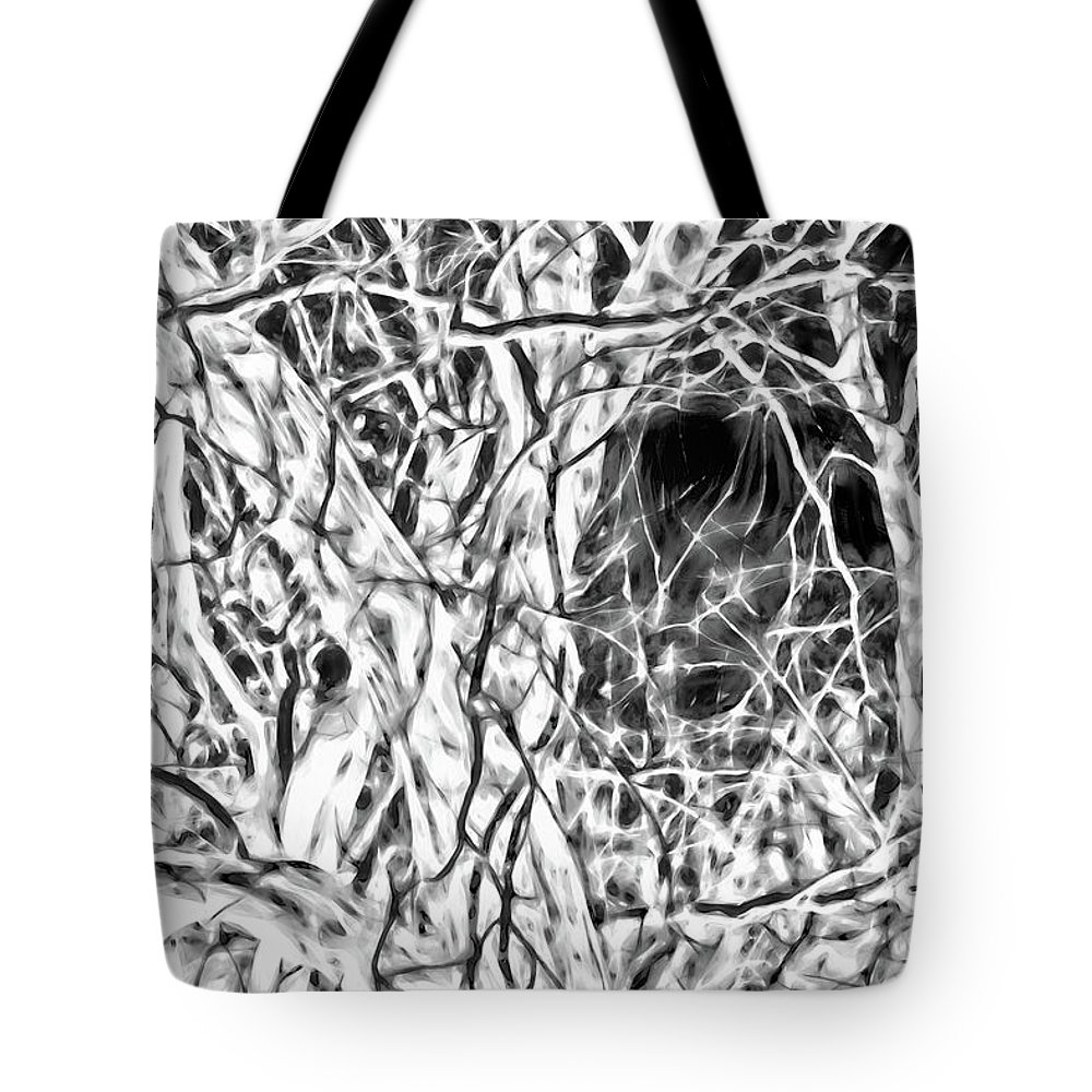 Black And White Tote Bag featuring the photograph A Bayou Climbing Tree by Gina O'Brien