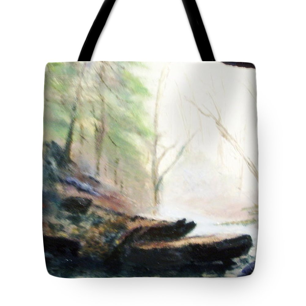 Cave Tote Bag featuring the painting A Bears View by Gail Kirtz