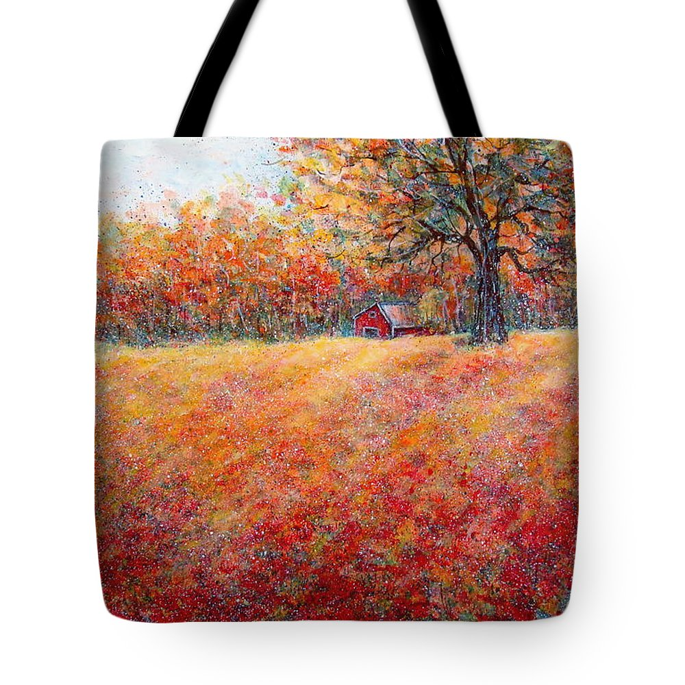 Autumn Landscape Tote Bag featuring the painting A Beautiful Autumn Day by Natalie Holland