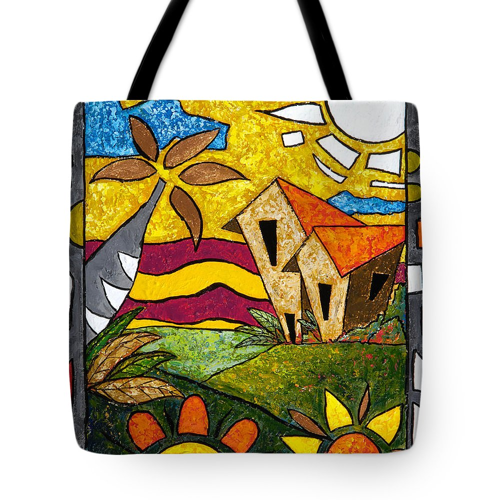 Puerto Rico Tote Bag featuring the painting A Beautiful Day by Oscar Ortiz