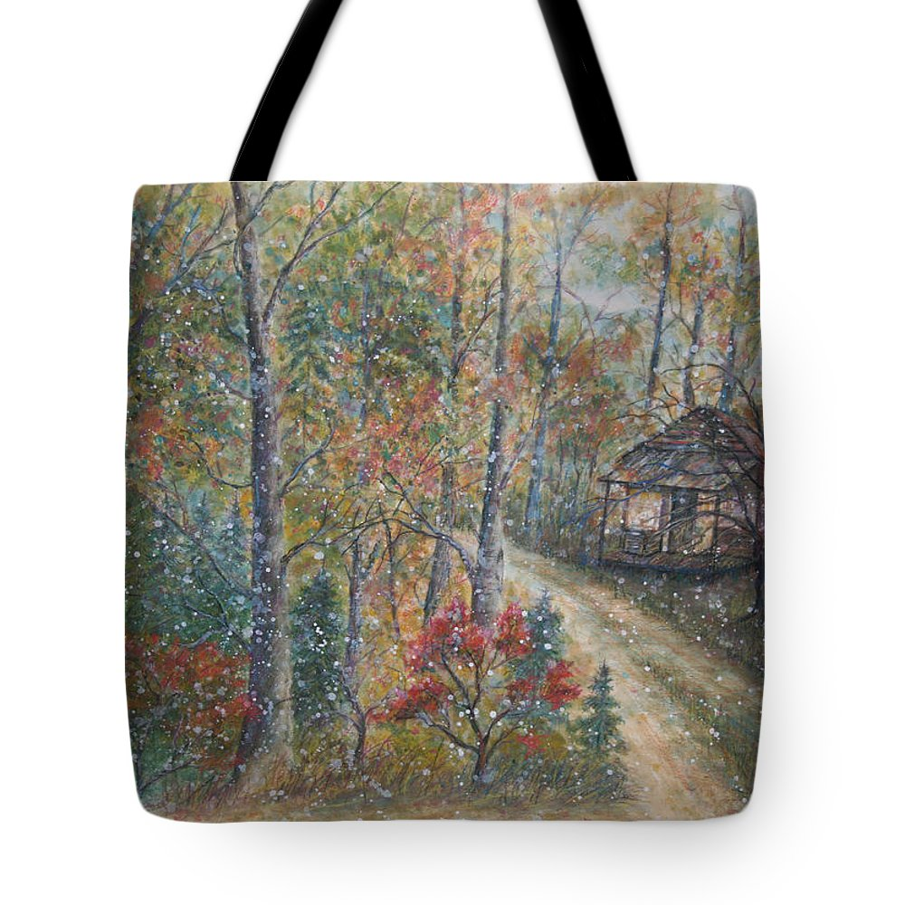 Country Road; Old House; Trees Tote Bag featuring the painting A Bend In The Road by Ben Kiger