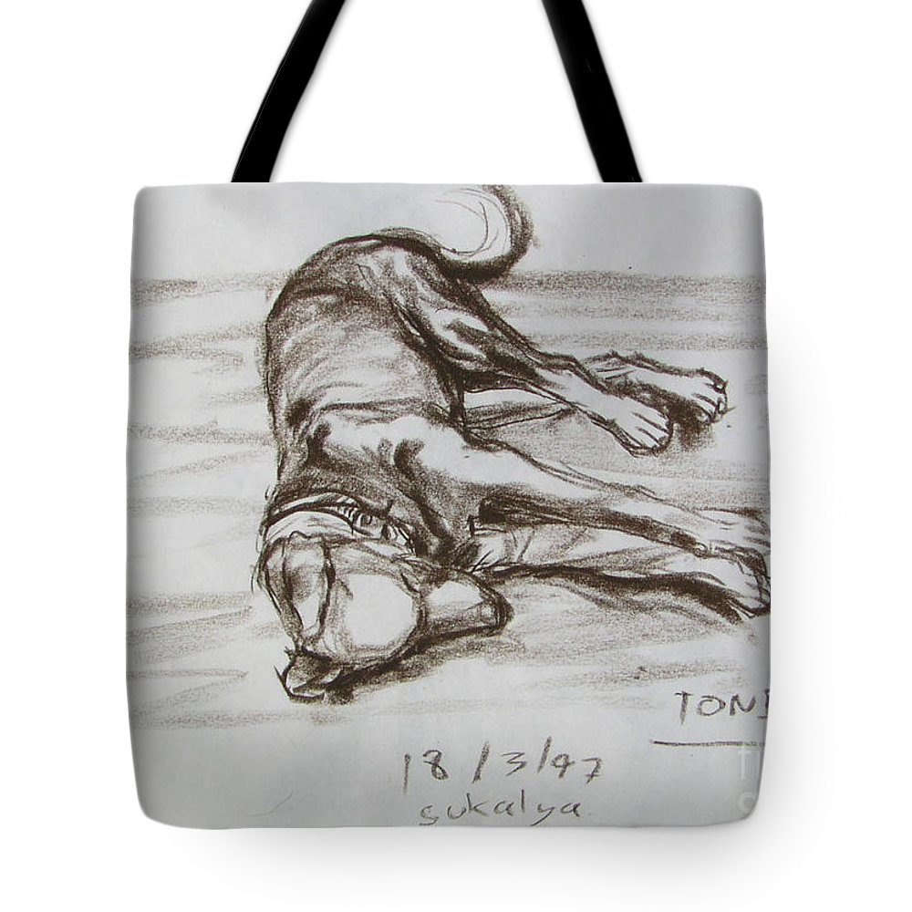 Puppy Tote Bag featuring the drawing A Big Puppy by Sukalya Chearanantana