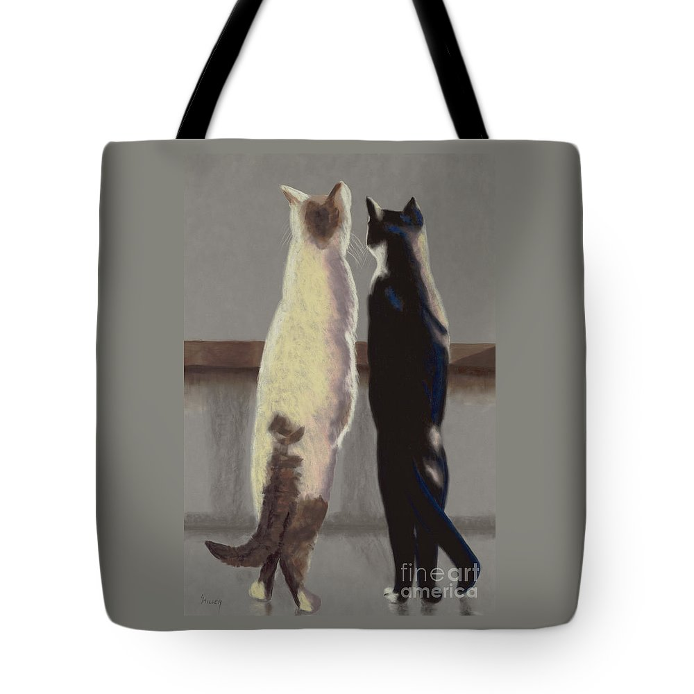 Cat Tote Bag featuring the painting A Bird by Linda Hiller